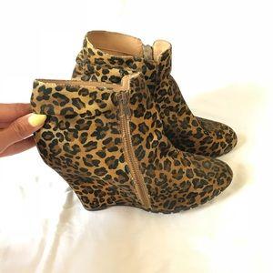 Nicole Miller Leopard Wedge Booties